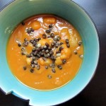 Chipotle Sweet Potato Cauliflower Soup with Mung Beans