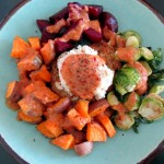 Mashed Lima Beans with Red Pepper Sauce and Roasted Vegetables