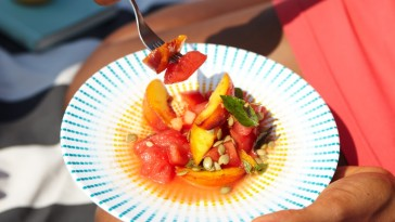 Watermelon & Peach Salad with Lime Vinaigrette