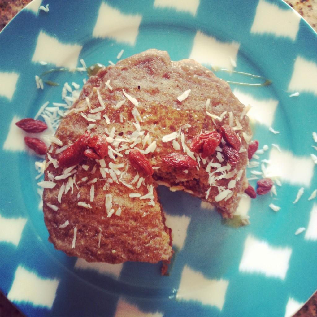 Coconut Goji Berry Gluten Free Vegan Teff Pancakes