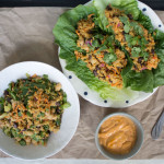 Harissa Tahini Romaine Wraps + Salad {VIDEO}