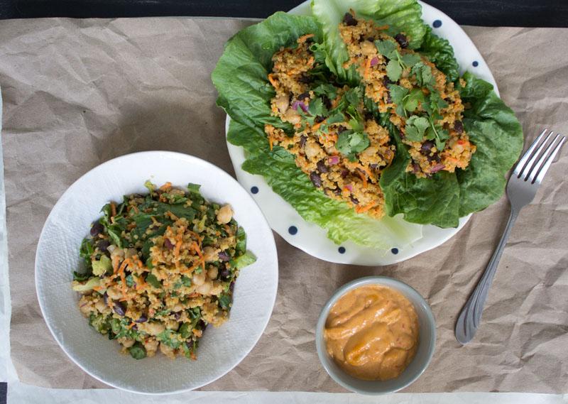 Harissa Tahini Salad & Wraps