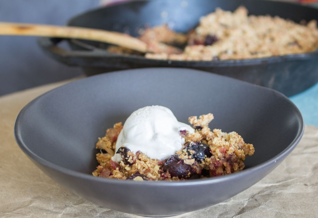 Vegan Cherry Rhubarb Crumble with Vegan Ice Cream