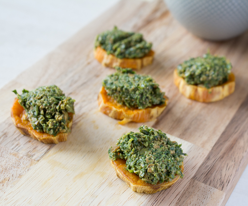 Dandelion Pesto on Sweet Potatoes