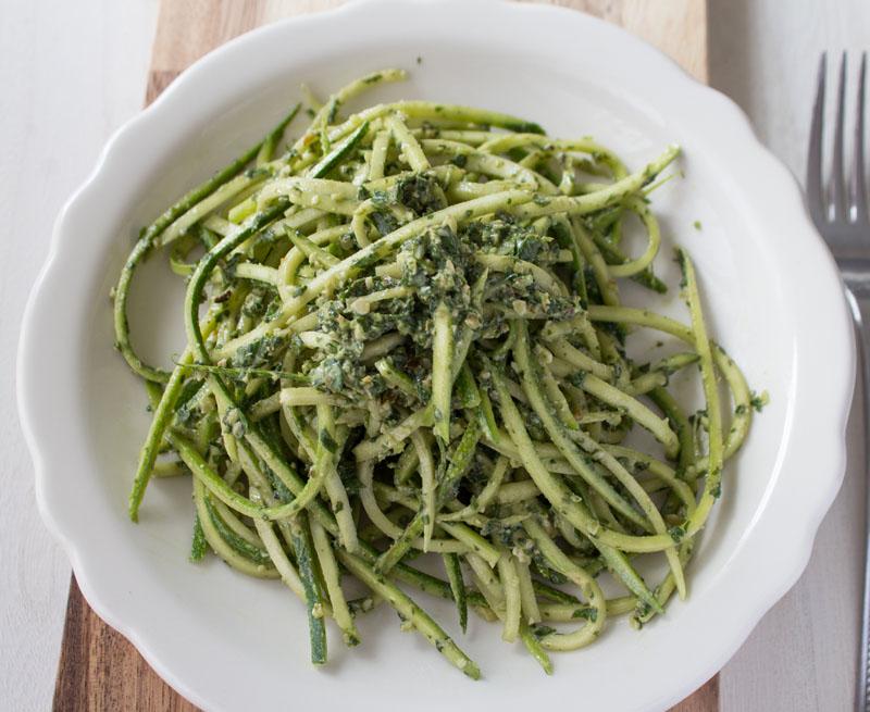 Dandelion Pesto Zucchini Noodles