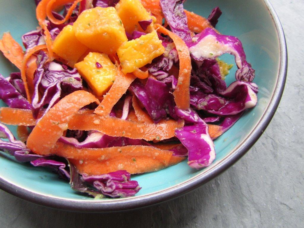 Miso Mango Red Cabbage Salad