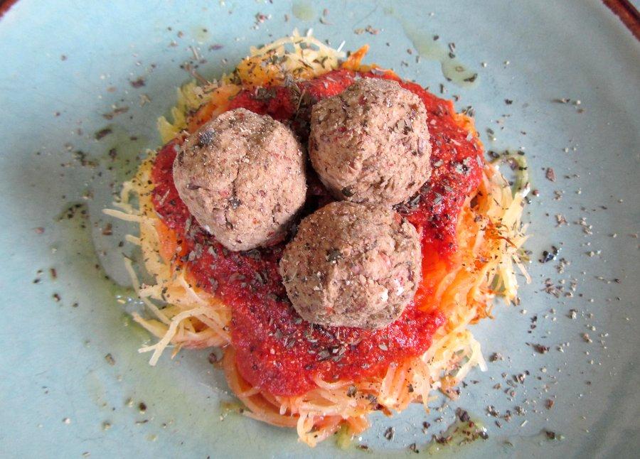 Spaghetti Squash with Lentil Meatballs