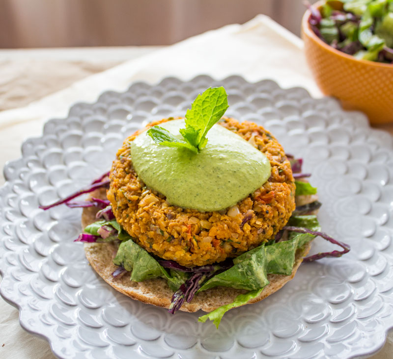 Sweet Potato Burgers with Green Tahini Sauce