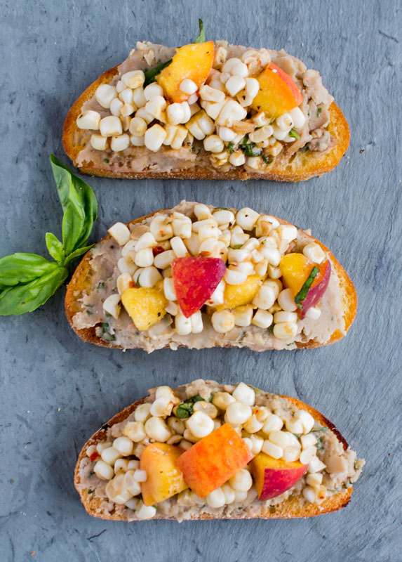 Corn and Peach Crostini Basil White Bean Puree