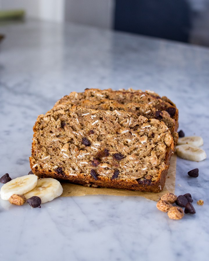 Vegan Mocha Banana Bread. Made with Tigernuts, Oats, & Spelt Flour