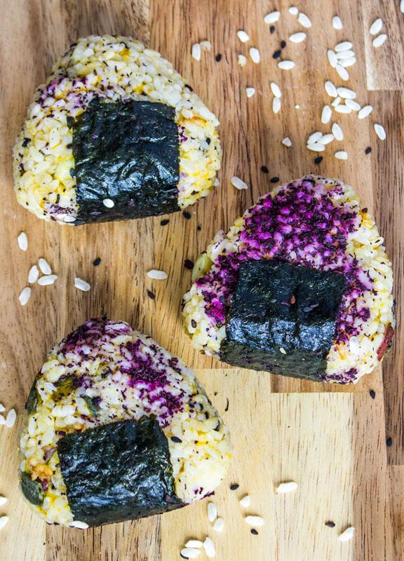 Japanese Onigiri (Rice Balls) with Kabocha Squash and Japanese Yam