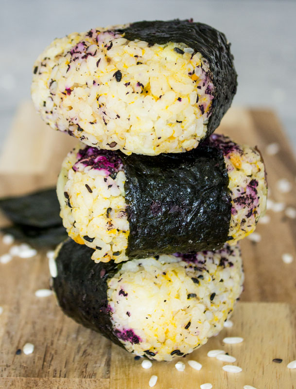 Japanese Onigiri (Rice Balls) with Kabocha Squash and Japanese Yam