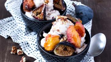 Vegan Coconut Ice Cream |Roasted Peach, Fig + Pecan {VIDEO}