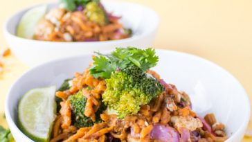 Sweet Potato Noodles + Creamy Almond Sauce {VIDEO}