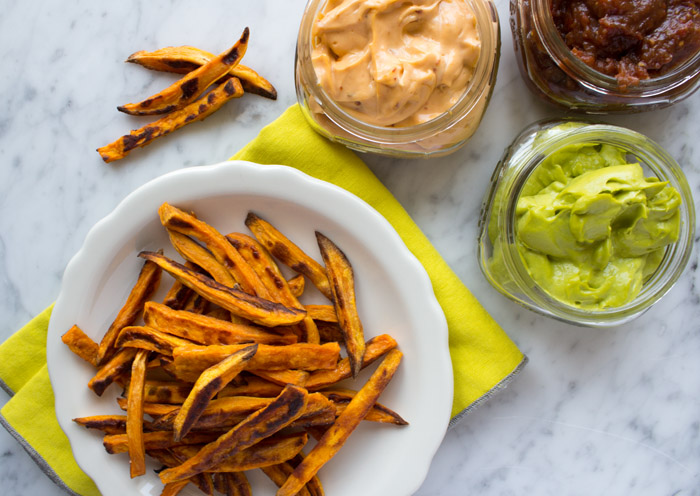 Baked Sweet Potato Fries and three dips | www.sweetpotatosoul.com