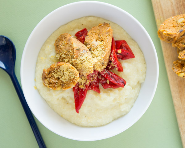 White Bean Vegan Sausage with Grits   www.sweetpotatosoul.com