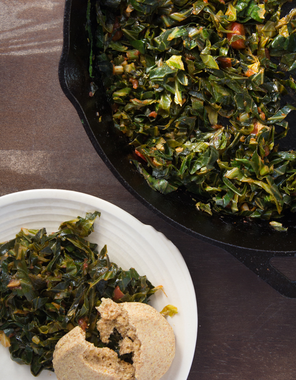 Southern Vegan Collard Greens with Cornmeal Biscuit | www.sweetpotatosoul.com