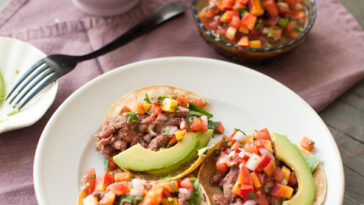 Easy Curried Red Bean Tacos with Peach Salsa