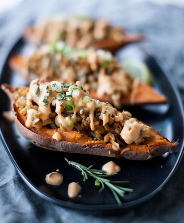 Mushroom Leek Stuffed Sweet Potato   @sweetpotatosoul