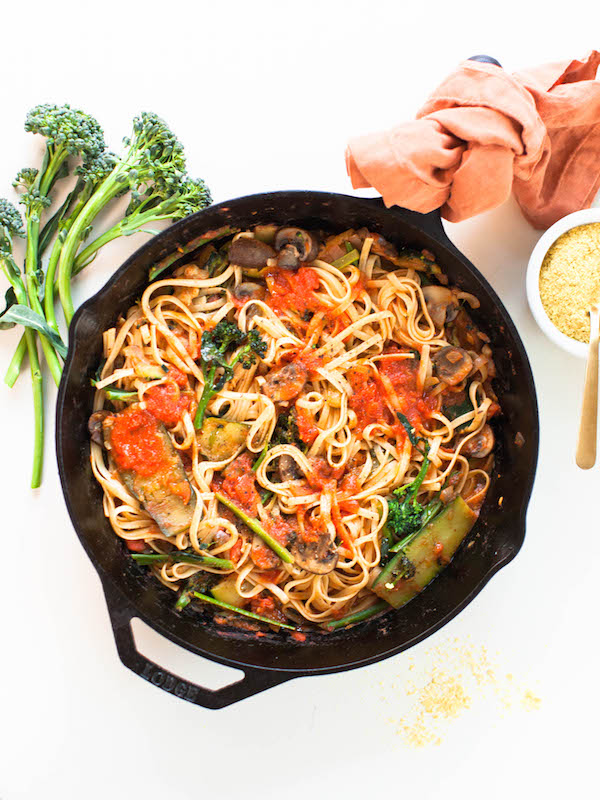 Broccolini Linguine 15 Minute Vegan Meals | @sweetpotatosoul