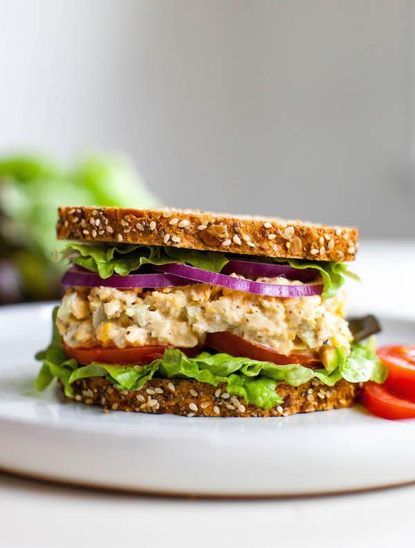Chickpea Tuna Sandwich15 Minute Vegan Meals   @sweetpotatosoul