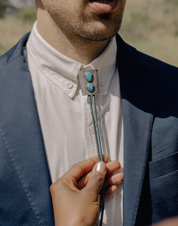 Turquoise Vegan Bolo Tie | Vegan Wedding Dress Sweet Potato Soul