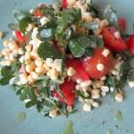 Salad of Purslane, Heirloom Tomatoes, Sweet Corn and Lemon Basil