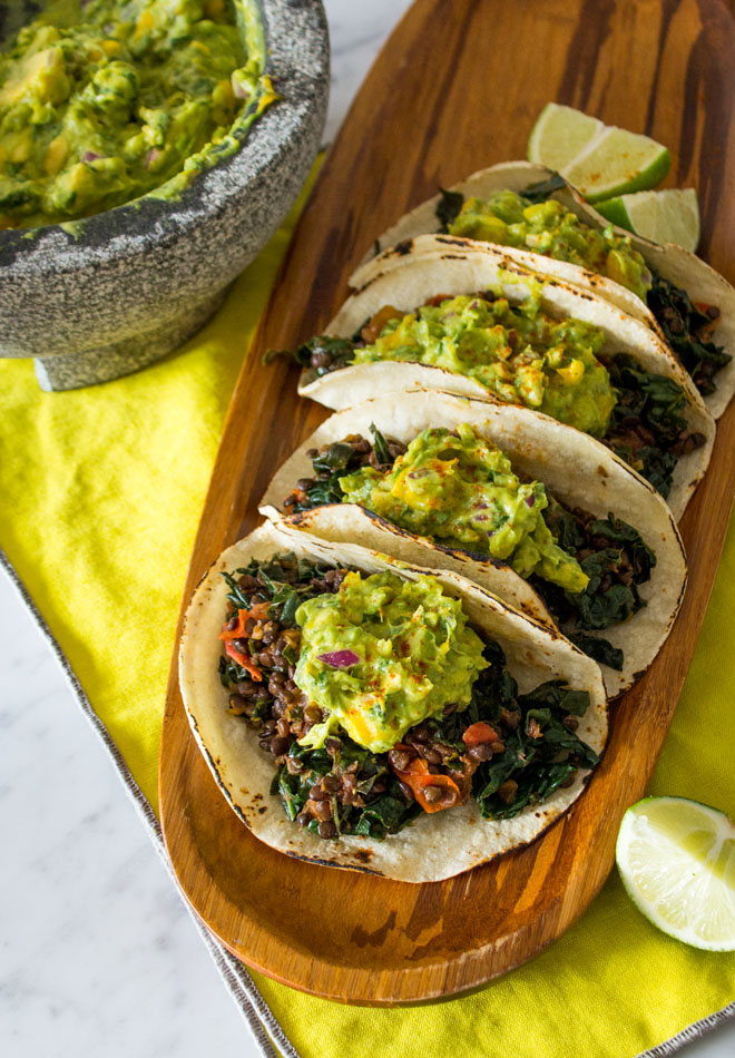 Lentil Tacos with Mango Guacamole + Kitchen Workout