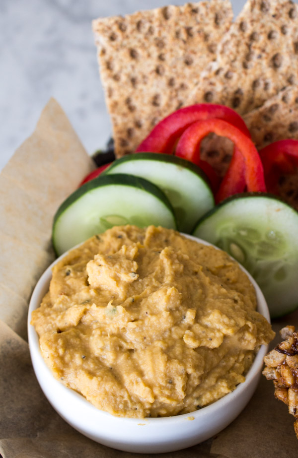 Sweet Potato Hummus | Vegan Back to School Snacks | www.sweetpotatosoul.com