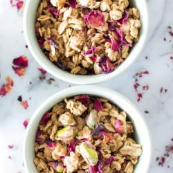Tahini Granola with Rose Petals and Pistachios | www.sweetpotatosoul.com