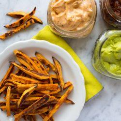 Baked Sweet Potato Fries + Three Vegan Dips {VIDEO}