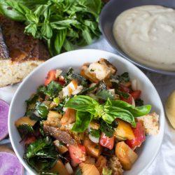 Monticello Peach Panzanella and Potato Bisque | sweetpotatosoul.com