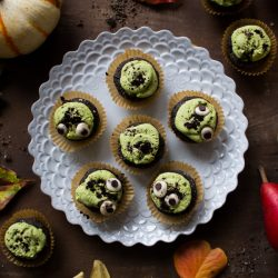 Halloween Raw Chocolate Matcha Cupcakes