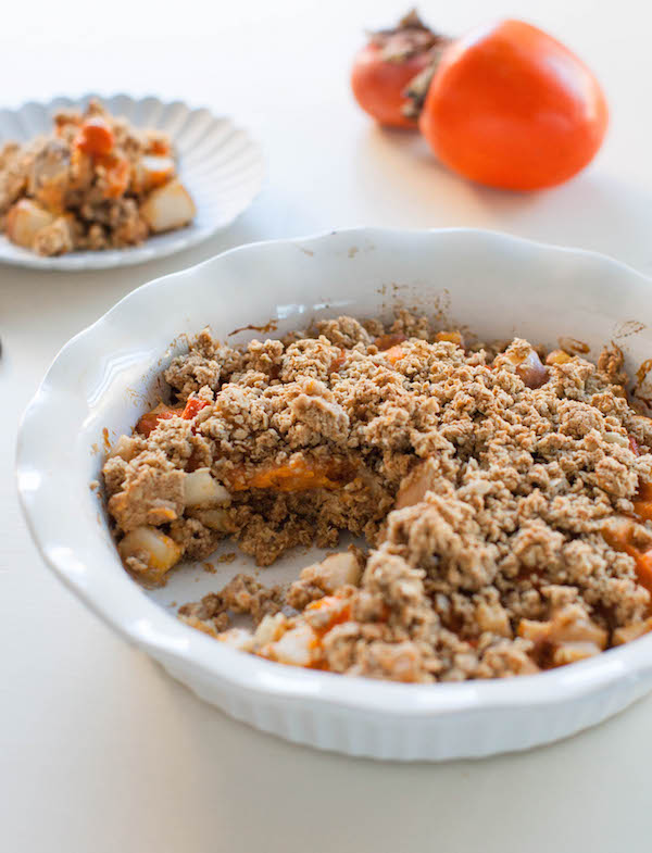 Pear Persimmon Breakfast Crumble | @sweetpotatosoul