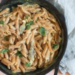 Oyster Mushroom Red Lentil Pasta Alfredo