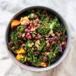 fall kale salad vegan meal prep recipes