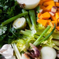 food scraps homemade vegetable broth