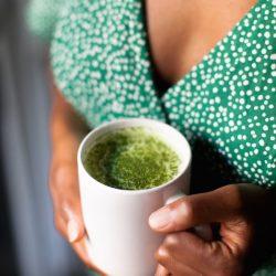 Oatmilk Matcha Latte + Matcha Tahini Smoothie