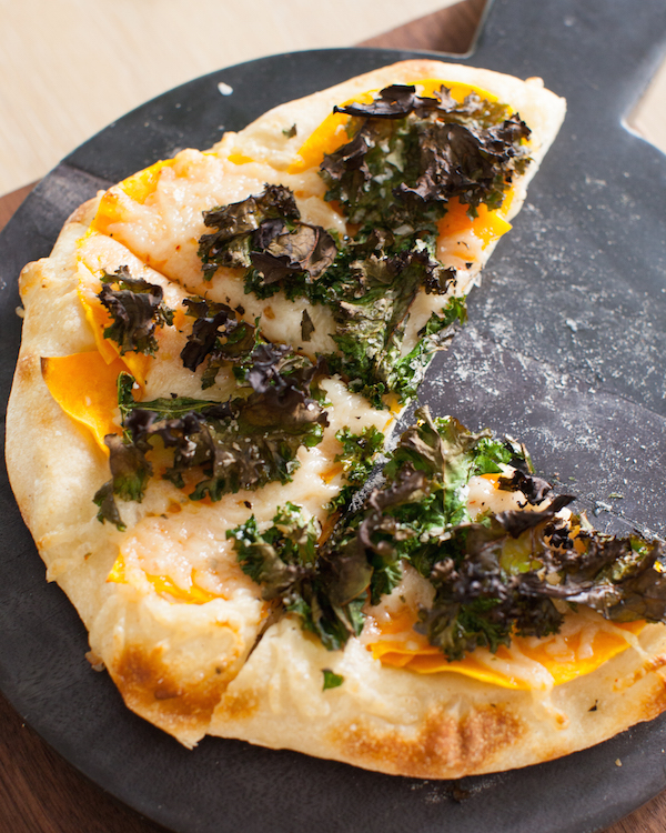 Sourdough pizza butternut kale