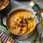Sweet Potato Bisque with Crispy White Beans