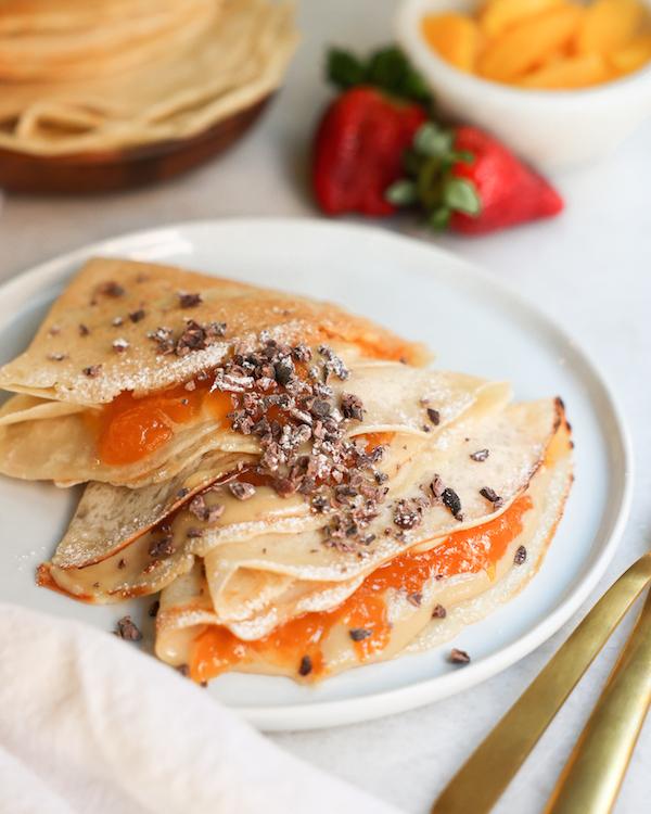 Vegan Crepes Tahini Maple Sauce