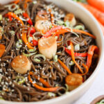 "Vegan Cold Soba Noodle Salad with Mushroom ""Scallops"""