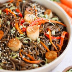 "Vegan Cold Soba Noodle Salad with Mushroom ""Scallops"""