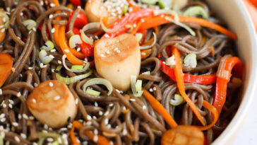 cold soba noodle salad with vegan scallops