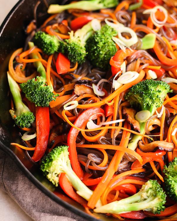 vegan japchae style noodles