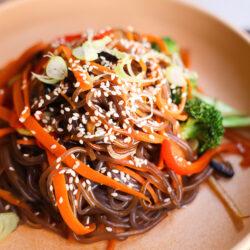 Vegan Japchae Style Noodles (stir-fried sweet potato noodles)
