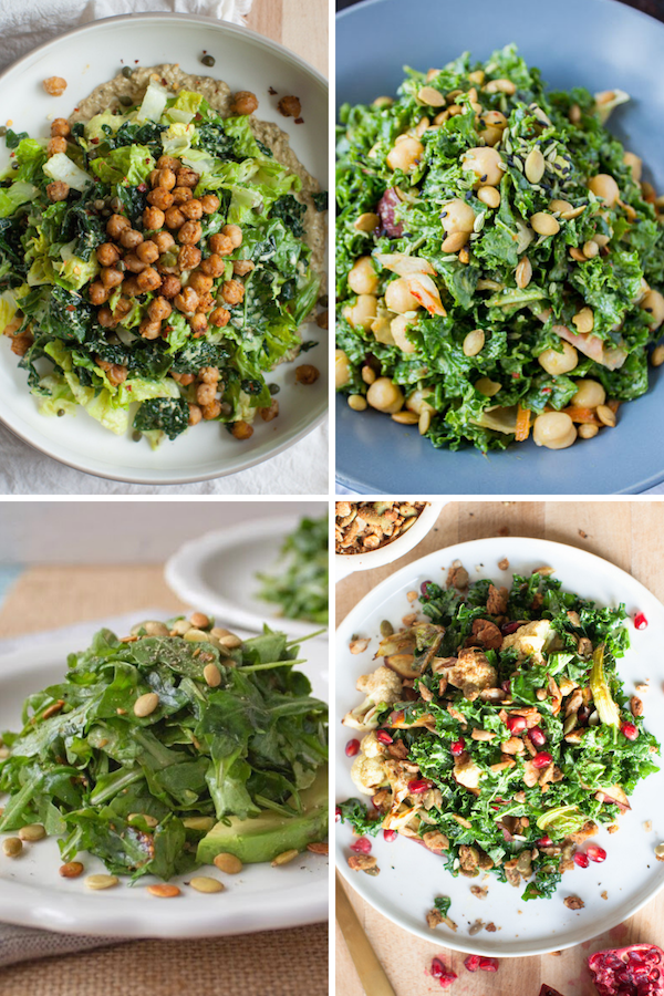 Leafy green vegan salads