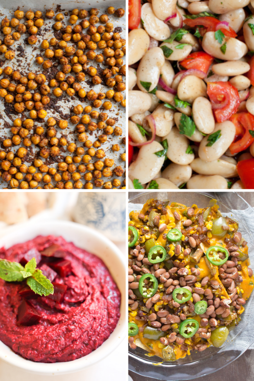 salads, snacks, and dips made with beans