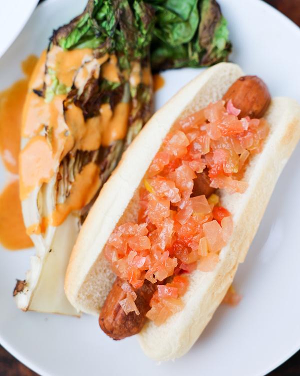 Vegan Hotdog with Watermelon Rind Relish