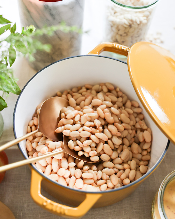 cooked white beans in pot
